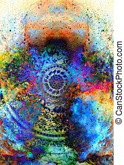 filigrane, 꽃의, 장식, 와, 만다라, 모양, 통하고 있는, 우주의, backgrond, 컴퓨터, collage.