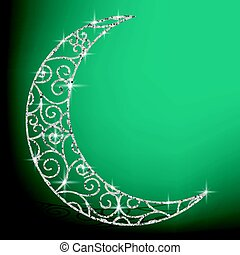 Filigree glitter moon card in vector format.