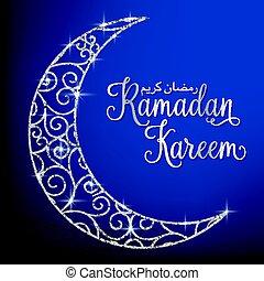 Filigree glitter moon Ramadan Kareem (Generous Ramadan) card in vector format.