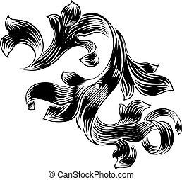 Filigree Heraldic Floral Pattern Scroll Design