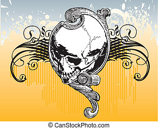 Filigree skull illustration