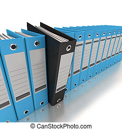 Filing and organizing information blue - 3D rendering of a...