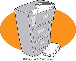 Filing Cabinet - A filing cabinet with open drawers and...