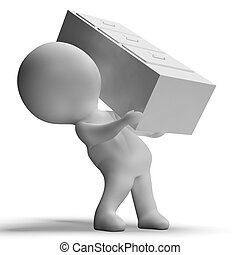 Filing Cabinet Carried By 3d Character Showing Organization...