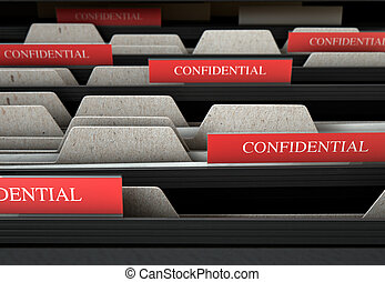 Filing Cabinet Drawer Open Confidential - A 3D render...