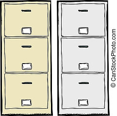 Filing Cabinet Illustration - Front view of isolated metal...