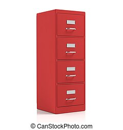Filing cabinet isolated on white background. 3d illustration
