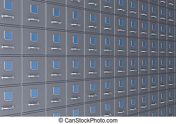 Filing cabinet on white background. Isolated 3D illustration