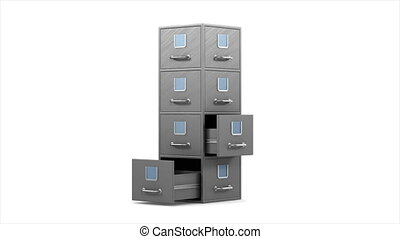 Filing cabinet on white background. Isolated 3D render