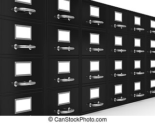 Filing cabinet on white. Isolated 3D image
