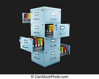 Filing cabinet with a folders in an open drawers, 3d Illustration