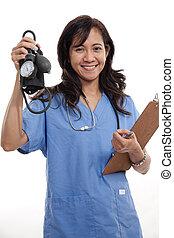 filipińczyk, doktor, pracownik, pociągający, healthcare, pielęgnować, asian