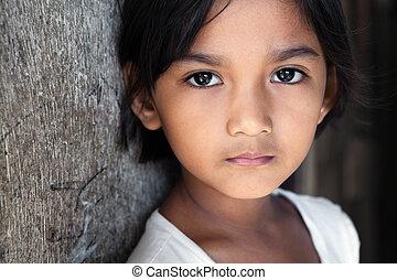 filipina, ritratto, filippine, -, ragazza
