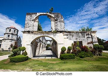 filipinas., barroco, viejo, oslob, iglesia