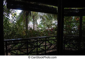 filipinas, bungalow, terraza, jardín