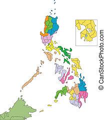 filipinas, distritos, países, circundante, administrativo
