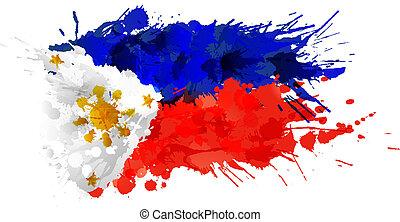 filipinas, feito, bandeira, coloridos, esguichos