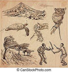 filipinas, -, mão, vetorial, desenhado, pacote