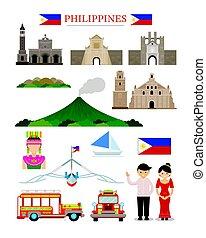 filipinas, objeto, edificio, señales, conjunto, arquitectura