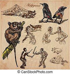 filipinas, -, um, mão, desenhado, vetorial, pacote