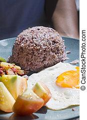 breakfast - filipino breakfast, brown rice meal