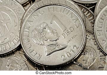 A close up image of Filipino peso coins