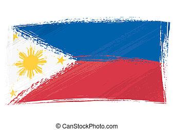 filipiny, grunge, bandera