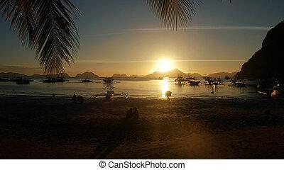 filipiny, na, palawan, zachód słońca, morze, islands.