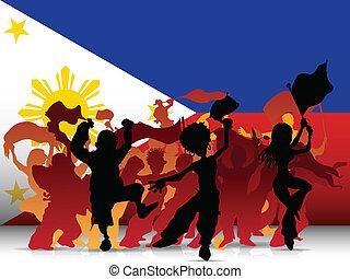 filippine, sport, ventilatore, bandiera, folla