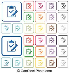 Fill out checklist outlined flat color icons - Fill out...