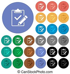 Fill out checklist round flat multi colored icons