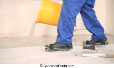 Fill the floor with a solution - Builders flood the floor...