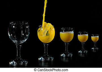 Fill the glass with juice