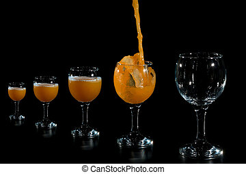 Fill the glass with pumpkin juice