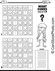 fill the pattern game for kids coloring book - Black and ...