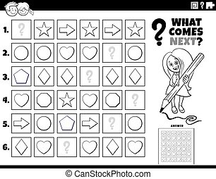 Black and White Cartoon Illustration of Completing the Pattern in the Rows Educational Task for Elementary Age or Preschool Children Coloring Book Page