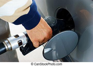 fill up of gasoline.