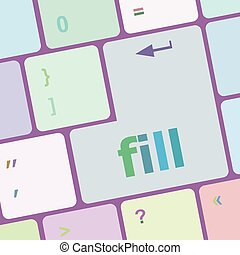fill words on computer keyboard button vector illustration