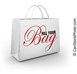 Fill Your Bag Shopping Spree Spend Splurge Binge Money
