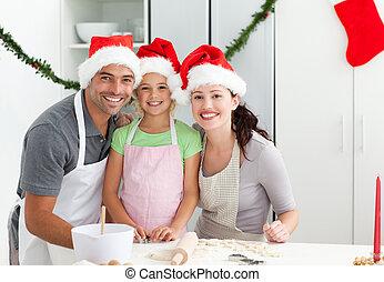 fille, épouse, cuisine, portrait, homme, biscuits, noël, cuisine