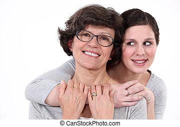 fille, étreindre, mère