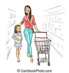 fille, achats, ensemble., mère