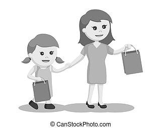 fille, achats, maman, ensemble