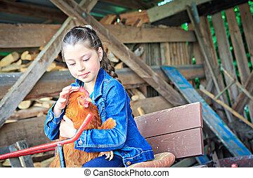 fille, agriculteurs