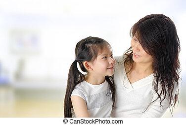 fille, asiatique, mère
