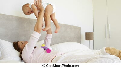 fille bébé, jouer, mère