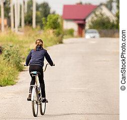 fille bicyclette, dans parc