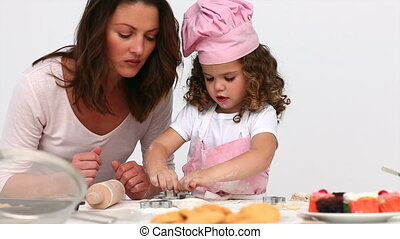 fille, biscuits, cuisson, elle, mère