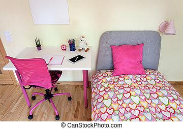 fille, bureau, blanche salle