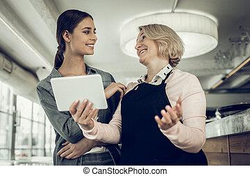 fille, business, famille, ouverture, après, mère, sentiment, heureux